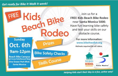 Bike to the Beach Rodeo Sunday for fun and prizes! Be ready for Bike it Walk it Week!  October 6 from 9-12.  All students need signed registration form available at event or www.bikeitwalkit.org under Bike Skills Workshops.