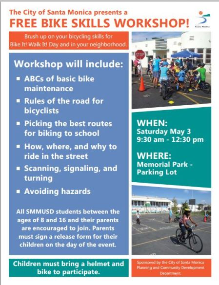FREE BIKE SKILLS WORKSHOP at MEMORIAL PARK SAT MAY 3 9:30-12:30